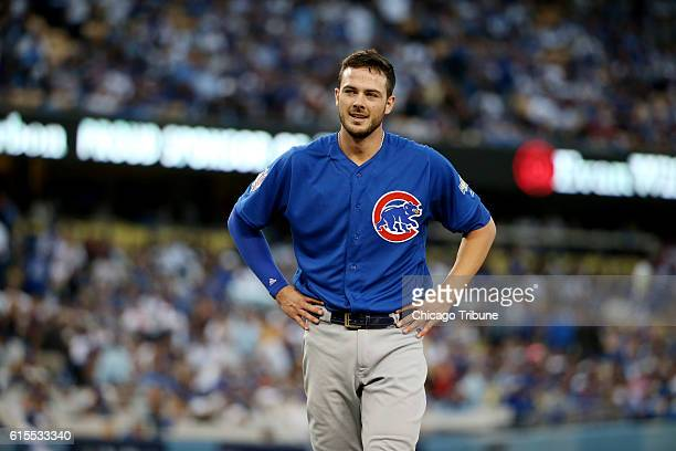 Chicago Cubs third baseman Kris Bryant reacts after being forced out in the third inning against the Los Angeles Dodgers during Game 3 of the...