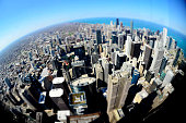 Chicago downtown buildings with fisheye lens like round world