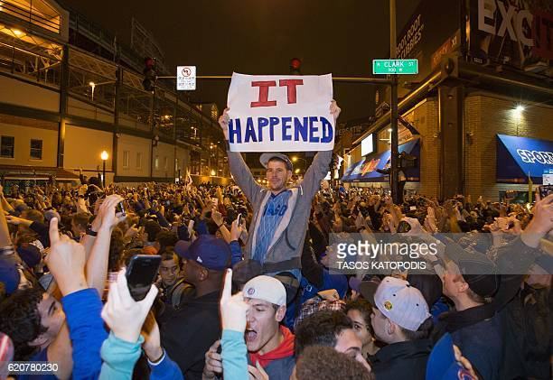 Chicago fans take to the streets to celebrate the Chicago Cubs 87 victory over the Cleveland Indians in Cleveland in 10th inning in game seven of the...