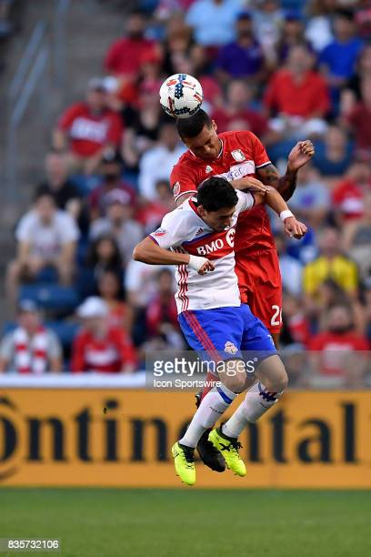 Chicago Fire Christian Dean heads the ball during the match between the Toronto FC and the Chicago Fire on August 19 2017 at Toyota Park in...