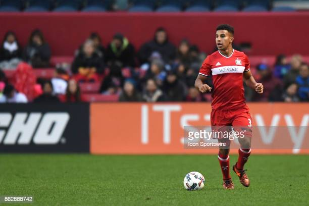 Chicago Fire defender Brandon Vincent controls the ball during a game between the Philadelphia Union and the Chicago Fire on October 15 at Toyota...
