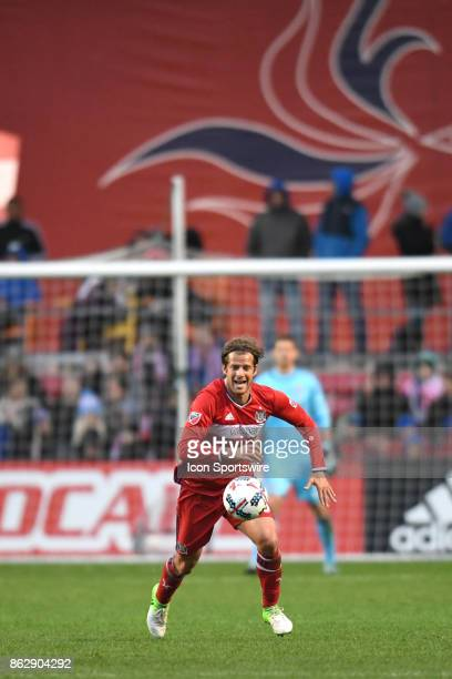 Chicago Fire defender Joao Meira controls the ball during a game between the Philadelphia Union and the Chicago Fire on October 15 at Toyota Park in...