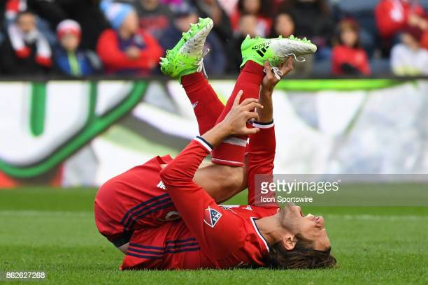 Chicago Fire defender Joao Meira reacts during a game between the Philadelphia Union and the Chicago Fire on October 15 at Toyota Park in Bridgeview...