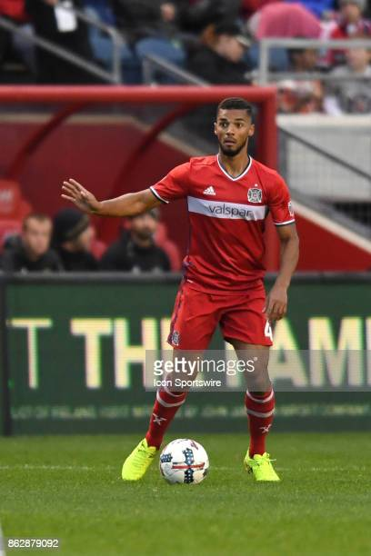 Chicago Fire defender Johan Kappelhof controls the ball during a game between the Philadelphia Union and the Chicago Fire on October 15 at Toyota...