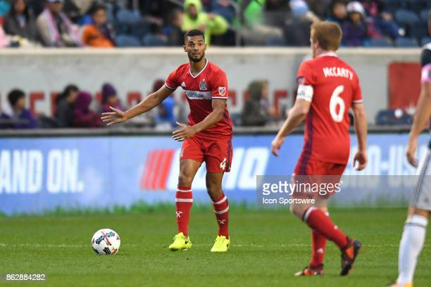 Chicago Fire defender Johan Kappelhof directs Chicago Fire midfielder Dax McCarty during a game between the Philadelphia Union and the Chicago Fire...