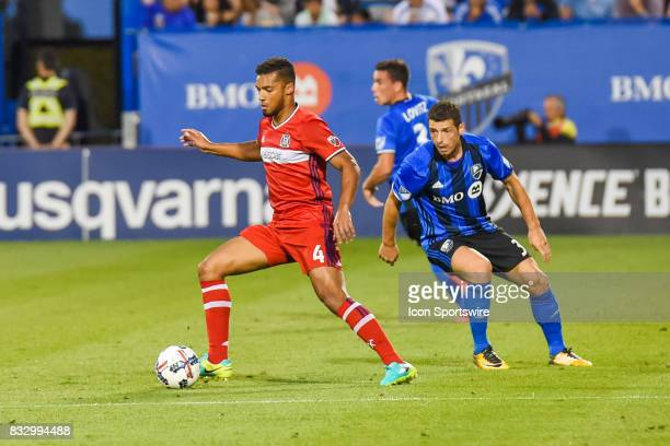 Chicago Fire defender Johan Kappelhof getting away with the ball in front of Montreal Impact midfielder Blerim Dzemaili during the Chicago Fire...