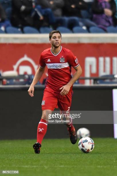 Chicago Fire defender Matt Polster controls the ball during a game between the Philadelphia Union and the Chicago Fire on October 15 at Toyota Park...