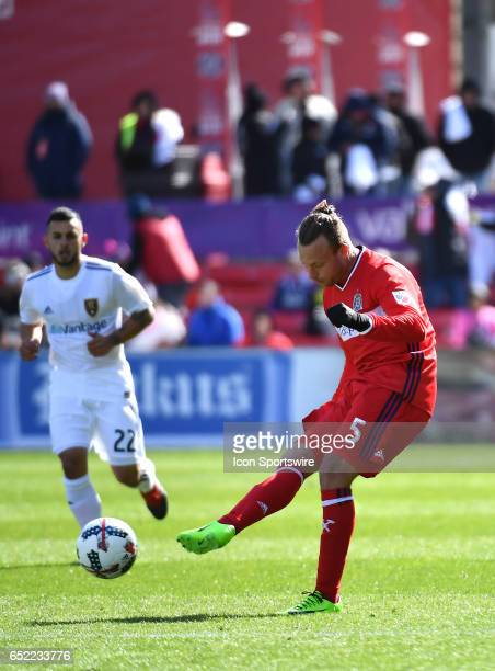 Chicago Fire defender Michael Harrington kicks the ball during the game between the Real Salt Lake and the Chicago Fire on March 11 2017 at Toyota...