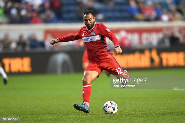 Chicago Fire forward Arturo Alvarez kicks the ball during a game between the Philadelphia Union and the Chicago Fire on October 15 at Toyota Park in...