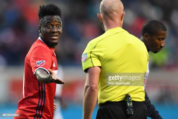 Chicago Fire forward David Accam argues a call with a referee during a game between the Philadelphia Union and the Chicago Fire on October 15 at...