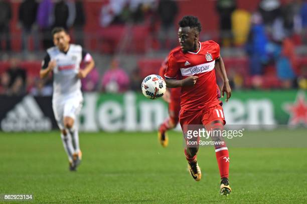 Chicago Fire forward David Accam controls the ball during a game between the Philadelphia Union and the Chicago Fire on October 15 at Toyota Park in...