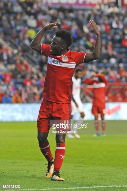 Chicago Fire forward David Accam pumps up the crowd during a game between the Philadelphia Union and the Chicago Fire on October 15 at Toyota Park in...