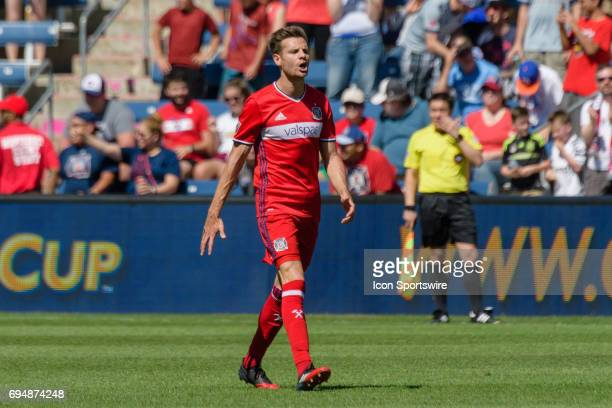 Chicago Fire forward Luis Solignac celebrates a goal in the first half during an MLS soccer match between Atlanta United FC and the Chicago Fire on...