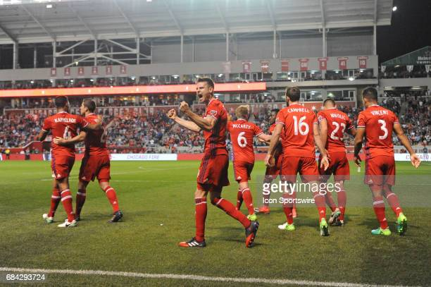 Chicago Fire forward Luis Solignac celebrates his goal during a game against the Seattle Sounders and the Chicago Fire on May 13 at Toyota Park in...