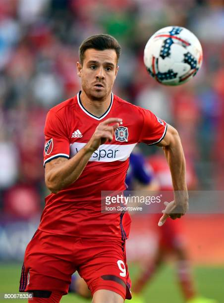 Chicago Fire forward Luis Solignac chases down the ball during the match between the Orlando City SC and the Chicago Fire on June 24 2017 at Toyota...