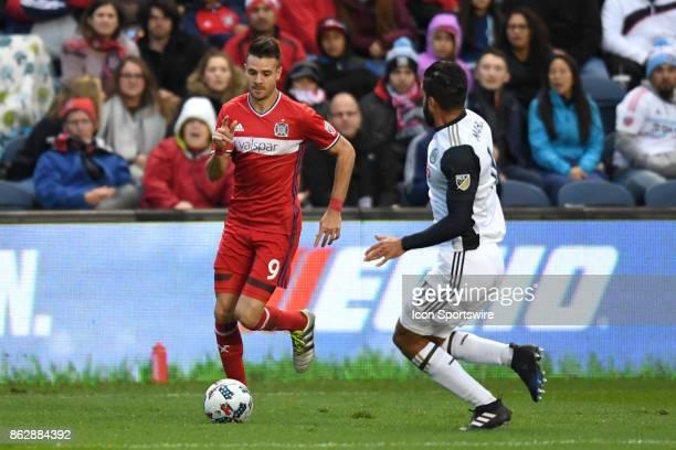 Chicago Fire forward Luis Solignac controls the ball against Philadelphia Union defender Richie Marquez during a game between the Philadelphia Union...