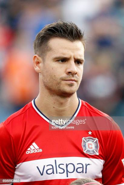 Chicago Fire forward Luis Solignac during a regular season MLS match between the New England Revolution and the Chicago Fire on June 17 at Gillette...