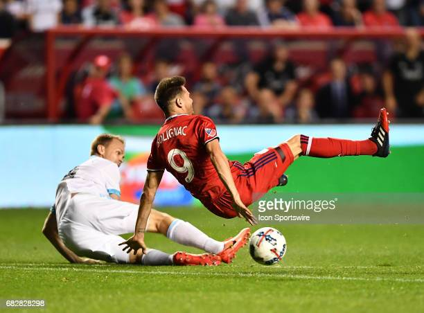 Chicago Fire forward Luis Solignac is shaken up on play during a match between the Chicago Fire and the Seattle Sounders on May 13 2017 at Toyota...