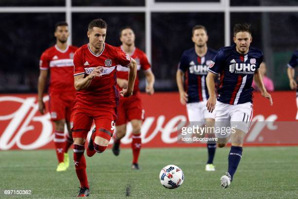 Chicago Fire forward Luis Solignac looks to goal on a break out during a regular season MLS match between the New England Revolution and the Chicago...