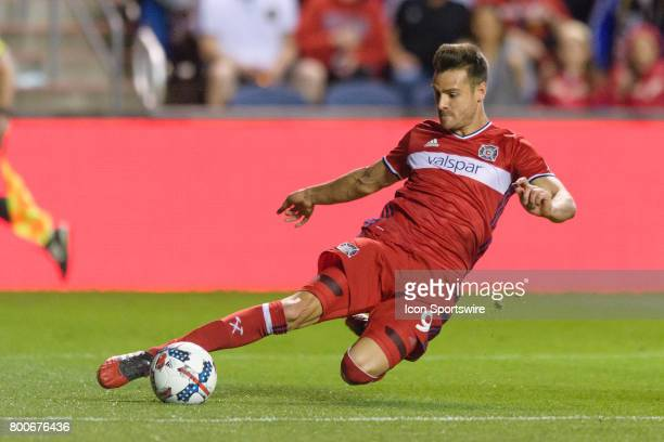 Chicago Fire forward Luis Solignac plays the ball in the second half during an MLS soccer match between Orlando City FC and the Chicago Fire on June...