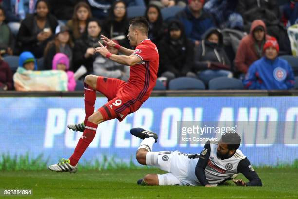 Chicago Fire forward Luis Solignac reacts after Philadelphia Union defender Richie Marquez slide tackles during a game between the Philadelphia Union...