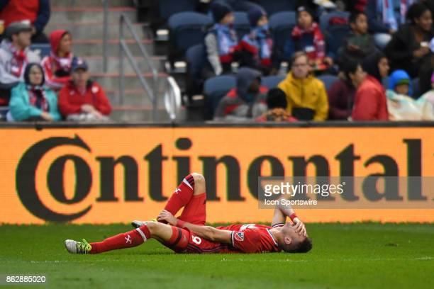 Chicago Fire forward Luis Solignac reacts during a game between the Philadelphia Union and the Chicago Fire on October 15 at Toyota Park in...