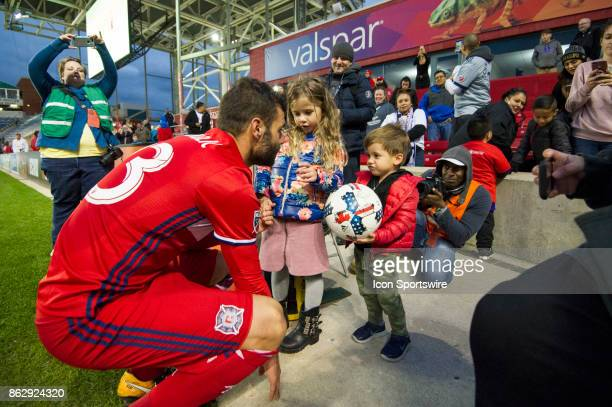 Chicago Fire forward Nemanja Nikolic and his family after a game between the Philadelphia Union and the Chicago Fire on October 15 at Toyota Park in...