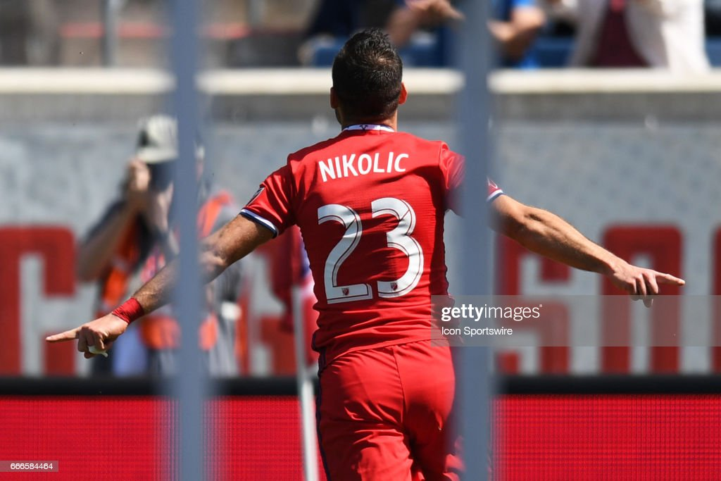 Chicago Fire forward Nemanja Nikolic (23) celebrates his goal during a game between the Columbus Crew FC and the Chicago Fire on April 8, 2017, at Toyota Park in Bridgeview, IL.