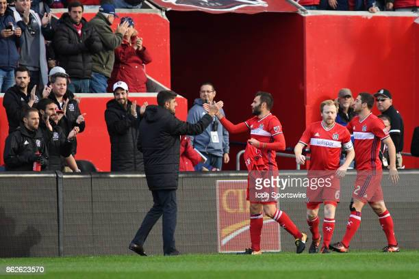 Chicago Fire forward Nemanja Nikolic celebrates his goal with Chicago Fire head coach Veljko Paunovic during a game between the Philadelphia Union...