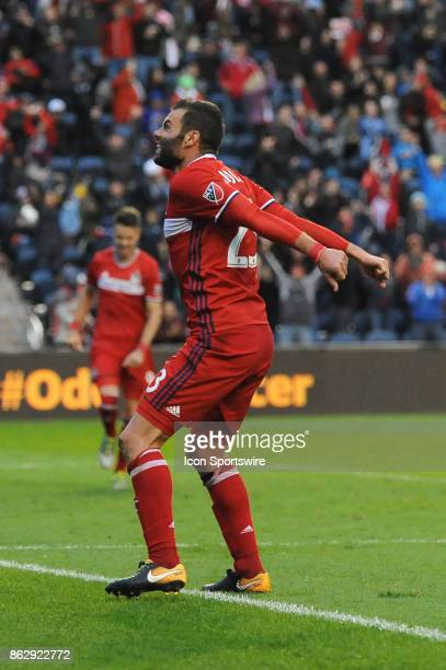 Chicago Fire forward Nemanja Nikolic celebrates his hattrick during a game against the Philadelphia Union and the Chicago Fire on October 15 at...