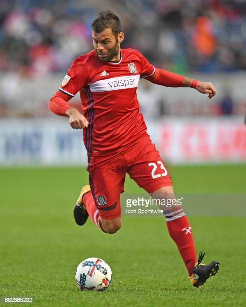 Chicago Fire forward Nemanja Nikolic controls the ball during a game between the Philadelphia Union and the Chicago Fire on October 15 at Toyota Park...