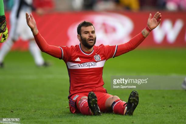 Chicago Fire forward Nemanja Nikolic reacts during a game between the Philadelphia Union and the Chicago Fire on October 15 at Toyota Park in...