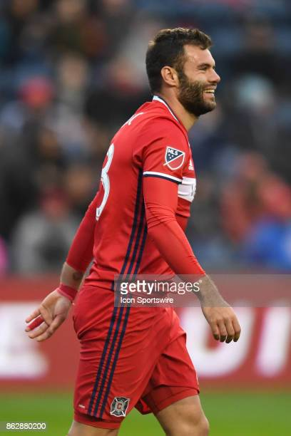Chicago Fire forward Nemanja Nikolic smiles during a game between the Philadelphia Union and the Chicago Fire on October 15 at Toyota Park in...