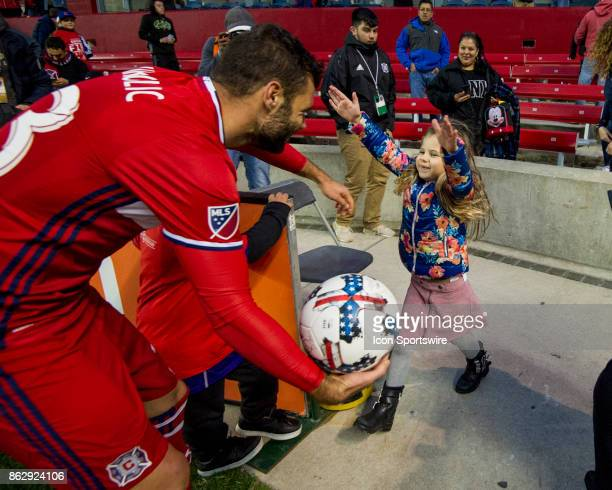 Chicago Fire forward Nemanja Nikolic with his son Marko and daugther Tijana after a game between the Philadelphia Union and the Chicago Fire on...