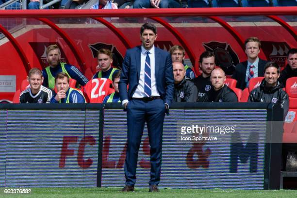 Chicago Fire head coach Veljko Paunovic during an MLS soccer match between the Montreal Impact and the Chicago Fire on April 01 at Toyota Park in...