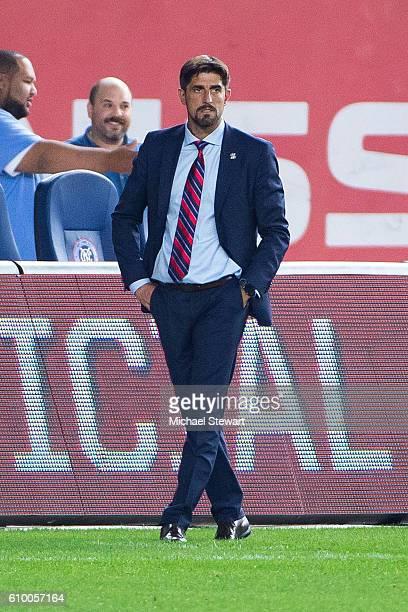 Chicago Fire head coach Veljko Paunovic during the match vs New York City FC at Yankee Stadium on September 23 2016 in New York City New York City FC...