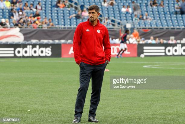 Chicago Fire head coach Veljko Paunovic watches warm up before a regular season MLS match between the New England Revolution and the Chicago Fire on...