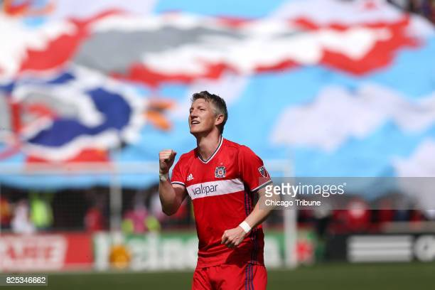 Chicago Fire midfielder Bastian Schweinsteiger celebrates after scoring a goal against the Montreal Impact at Toyota Park in Bridgeview Ill on April...