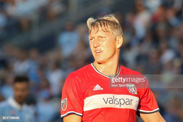 Chicago Fire midfielder Bastian Schweinsteiger in the first half of an MLS match between the Chicago Fire and Sporting KC on July 29 2017 at...