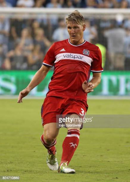 Chicago Fire midfielder Bastian Schweinsteiger in the second half of an MLS match between the Chicago Fire and Sporting KC on July 29 2017 at...