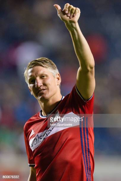 Chicago Fire midfielder Bastian Schweinsteiger motions to the fans after an MLS soccer match between Orlando City FC and the Chicago Fire on June 24...