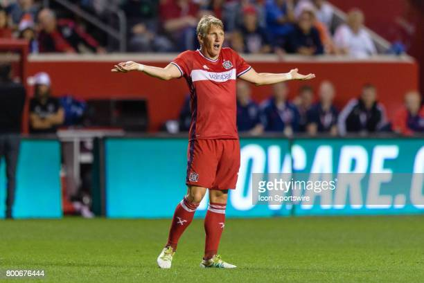 Chicago Fire midfielder Bastian Schweinsteiger reacts to a call in the second half during an MLS soccer match between Orlando City FC and the Chicago...