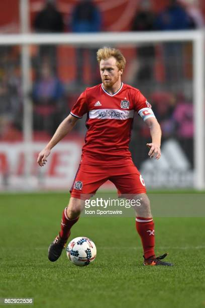 Chicago Fire midfielder Dax McCarty controls the ball during a game between the Philadelphia Union and the Chicago Fire on October 15 at Toyota Park...