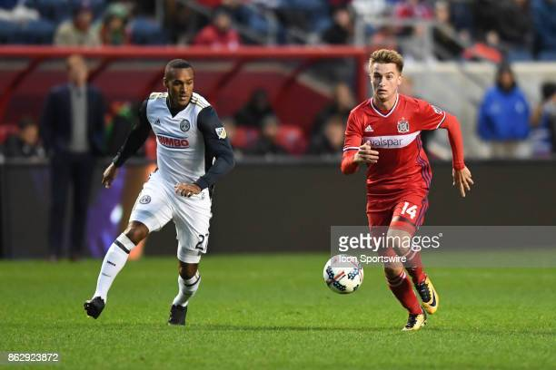 Chicago Fire midfielder Djordje Mihailovic controls the ball during a game between the Philadelphia Union and the Chicago Fire on October 15 at...