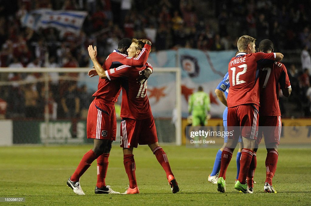 Chicago Fire players celebrate a goal in an MLS match against the Montreal Impact on September 15, 2012 at Toyota Park in Bridgeview, Illinois.