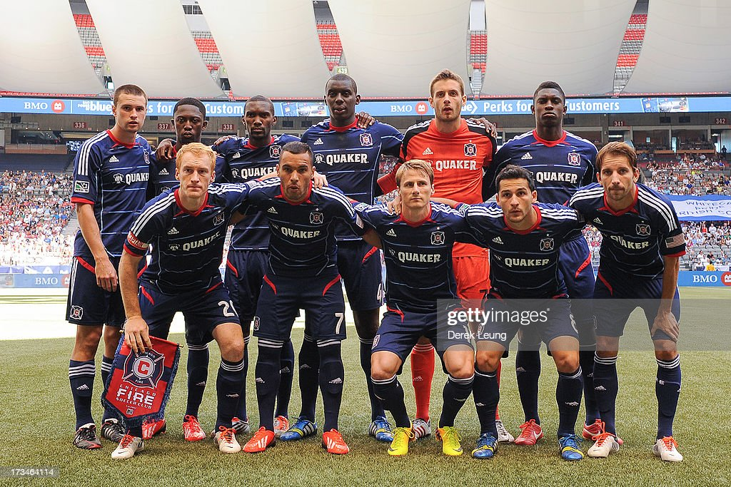 Chicago Fire's starting eleven pose for a photo before their match against the Vancouver Whitecaps at B.C. Place on July 14, 2013 in Vancouver, British Columbia, Canada.