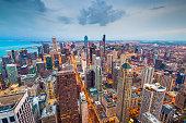 Chicago, Illinois USA aerial skyline after sunset.
