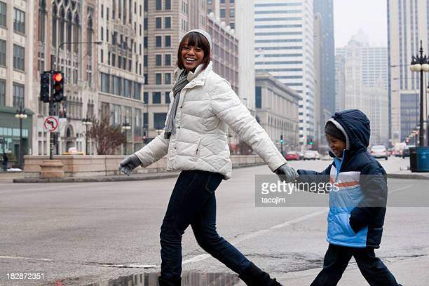 Chicago in Winter - Mother and Son on Michigan Avenue