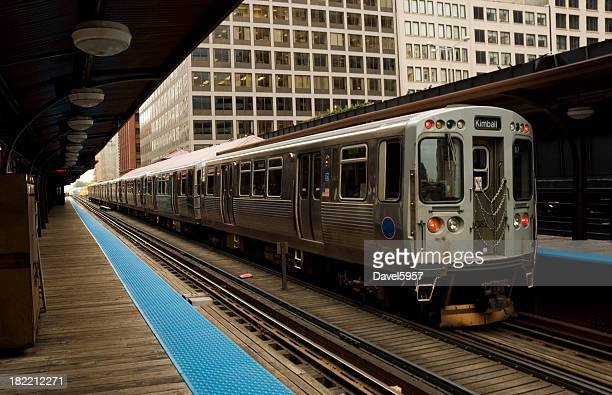 Chicago L (or El) Train at a station