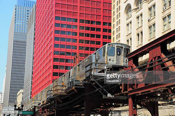 Chicago L train in the Downtown Loop Area